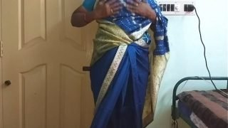 des indian horny cheating tamil telugu kannada malayalam hindi wife vanitha wearing blue colour saree  showing big boobs and shaved pussy press hard boobs press nip rubbing pussy masturbation